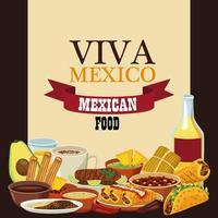 Letras de viva mexico y cartel de comida mexicana con tequila y menú vector