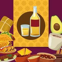 comida mexicana y botella de tequila set iconos vector