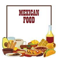 Cartel de letras de comida mexicana con tequila y menú. vector