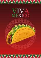 Letras de viva mexico y cartel de comida mexicana con taco vector