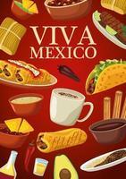 Letras de viva mexico y cartel de comida mexicana con menú en fondo rojo vector