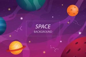 open space background banner with colorful planets and star vector