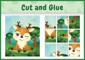 Children board game cut and glue with a cute deer vector