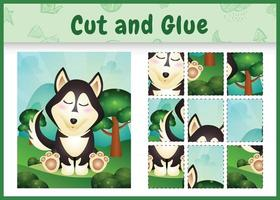 Children board game cut and glue with a cute husky dog vector