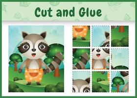 Children board game cut and glue with a cute raccoon using pants vector