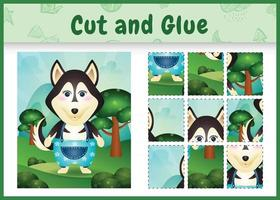 Children board game cut and glue with a cute husky dog using pants vector