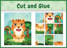 Children board game cut and glue with a cute tiger vector