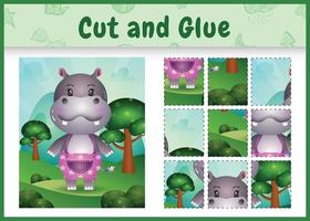 Children board game cut and glue with a cute hippo using pants vector