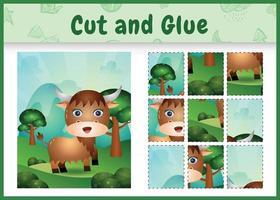 Children board game cut and glue with a cute buffalo vector
