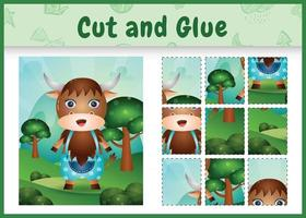 Children board game cut and glue with a cute buffalo using pants vector