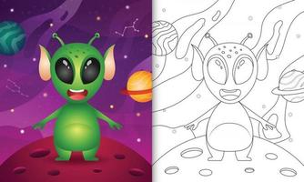 coloring book for kids with a cute alien in the space galaxy vector