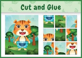 Children board game cut and glue with a cute tiger using pants vector