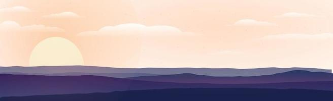Panoramic landscape of mountains and sunset vector