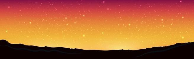 Beautiful starry red yellow sky on a background of mountains vector