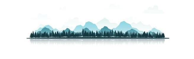 Realistic mountain panorama with dense forest vector