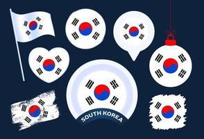 colección de vectores de bandera de corea del sur