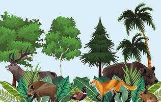 group of animals in the jungle scene vector
