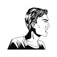 young man screaming character pop art style vector