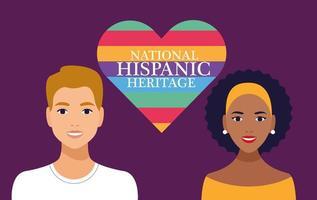Celebración de la herencia nacional hispana con pareja y letras en la escena del corazón vector