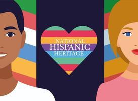 celebración de la herencia nacional hispana con pareja y letras en el corazón vector