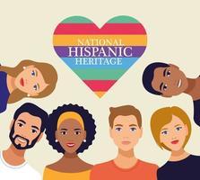 celebración de la herencia nacional hispana con personas y letras en el corazón vector
