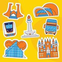 Jakarta Sticker Pack in Flat Design Style vector