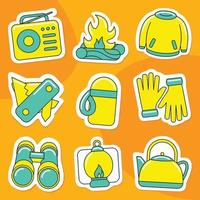 Camping Sticker Pack in Flat Design Style vector
