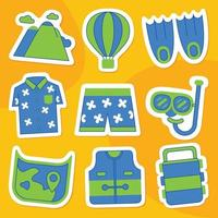 Holiday Sticker Pack in Flat Design Style vector