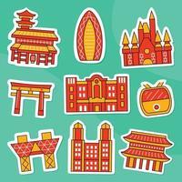 Tokyo Sticker Pack in Flat Design Style vector