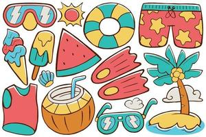 Summer Doodle Vector in Flat Design Style