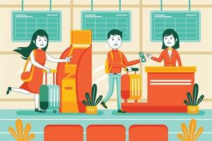 People in Airport Vector Illustration in Flat Design Style