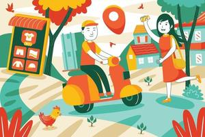 Delivery Service Vector Illustration in Flat Design Style