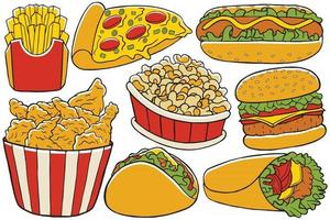 Fast Food Doodle Vector in Flat Design Style