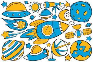 Space Doodle Vector in Flat Design Style