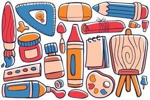 Art Studio Doodle Vector in Flat Design Style