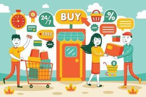 Online Shopping Vector Illustration in Flat Design Style