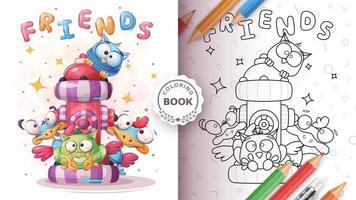 Cute bird friends coloring book vector