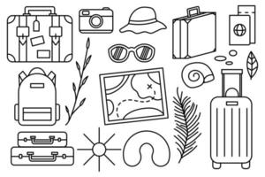 Summer vacation at the sea Beach stuff Collection of things for the vacation vector