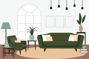 Stylish apartment interiors in Scandinavian style with modern decor Cozy furnished living room vector