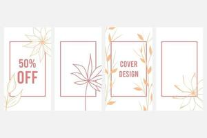 Elegant abstract background Social media banner template Botanical vector set Floral drawing with abstract shape
