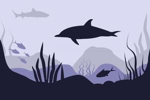Seabed in abstract style Sea landscape Underwater world vector