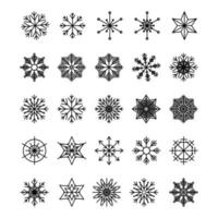 Icon set of snowflake isolated on a white background Pack of icons in line style Merry Christmas Happy New Year Winter vector