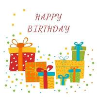 Happy Birthday Greeting card with gift boxes Vector Illustration