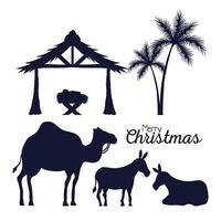 merry christmas and nativity icon collection silhouettes vector design