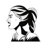 young woman screaming character pop art style vector
