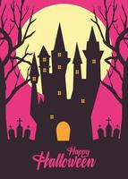 happy halloween card with haunted castle in cemetery silhouette vector