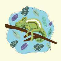 Escena de la naturaleza animal camaleón salvaje vector