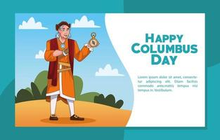 Columbus day celebration scene of christopher lifting compass guide vector