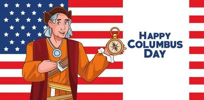 Columbus day celebration scene of christopher lifting compass guide and flag usa vector
