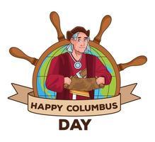 Columbus day celebration scene of christopher lifting paper map guide scene vector